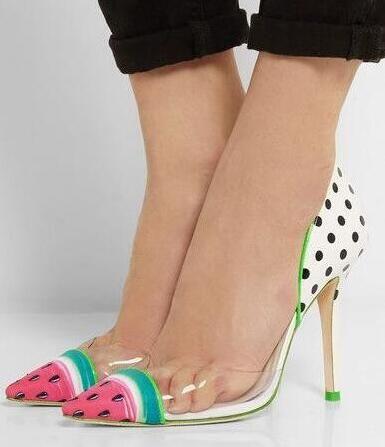 Neueste Heiße Verkaufs-Art- und Weisefrauen-junge Frauen beschuht Knöchel spitze Zehe-Absatzgröße 10 Mischfarben Wassermelone-Partei-Kleid-Schuhe
