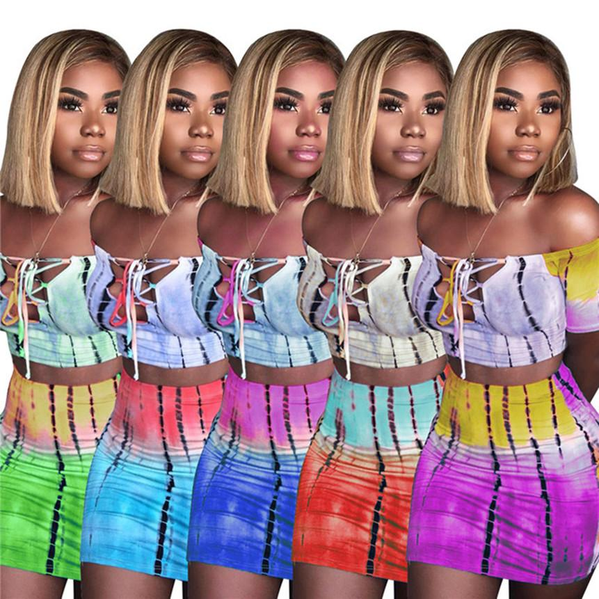 Frauen plus Größe Sweatsuit tie dye 2-teiliges Set einer Schulter T-Shirts + Minirock Sommerkleidung contast Farbe der Sportkleidung sexy Jogger Anzug 2754