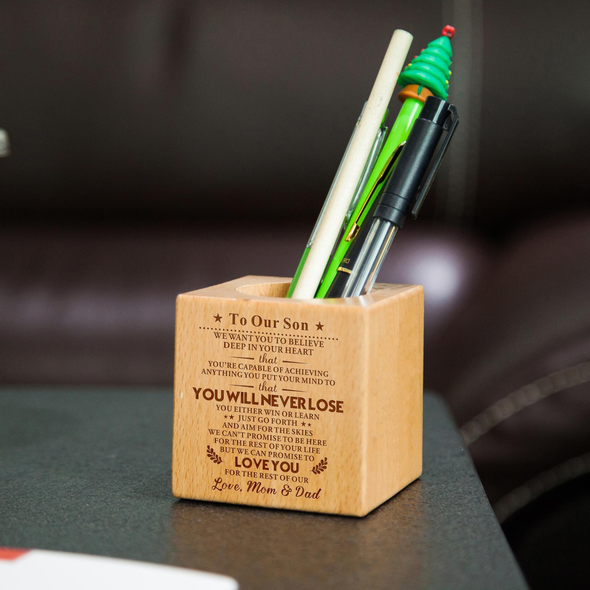 아빠와 엄마 아들 조각 다기능 창조적 인 나무로 만들어진 책상 문구 주최자 펜 연필 홀더 스토리지 박스 케이스 SQUA