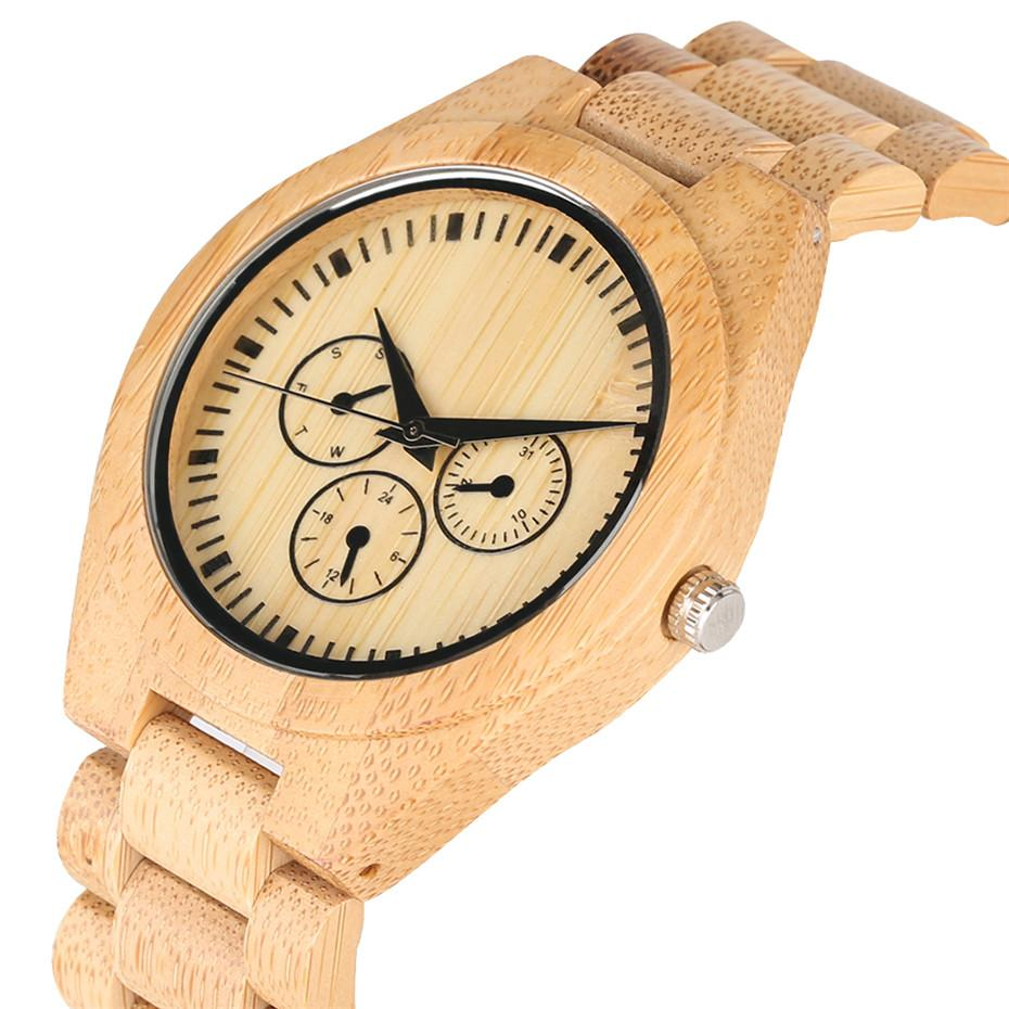 Men's Wooden Watch Quartz Wristwatch Fashion Small Dials Design Wood Watch Lady Bangle Bracelet Watches for Male Female 2019