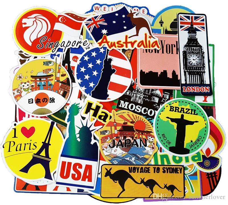 100 قطع سفر خريطة ملصقات العالم الشهيرة السياحة البلد ماء ملصقات الأمتعة السفر حالة زجاجة ماك ملصقات