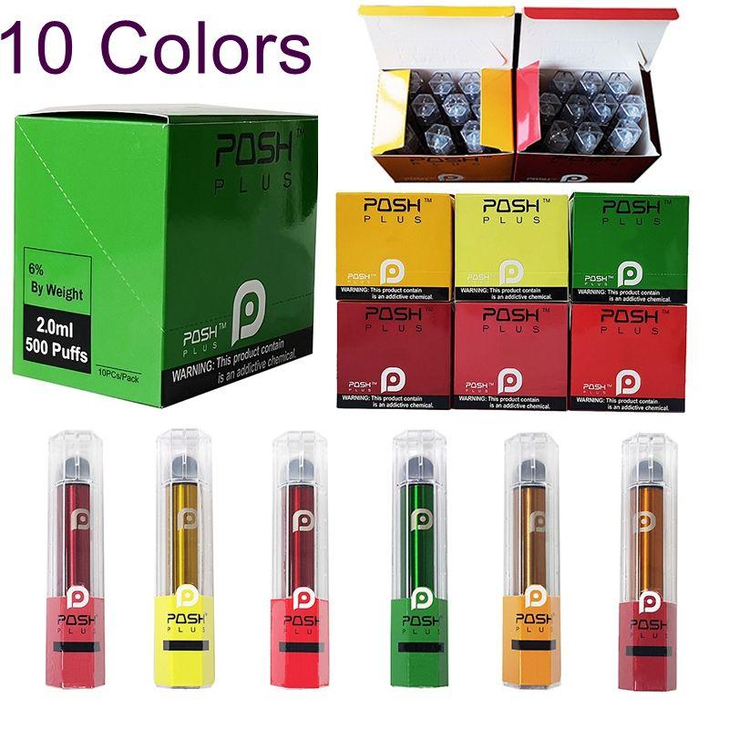 10 couleurs Posh plus jetables Vape Pen vide périphérique Pod 280mAh Batterie 2ml Cartouches E Cigarettes Kit PLUS CHIC kits de démarrage