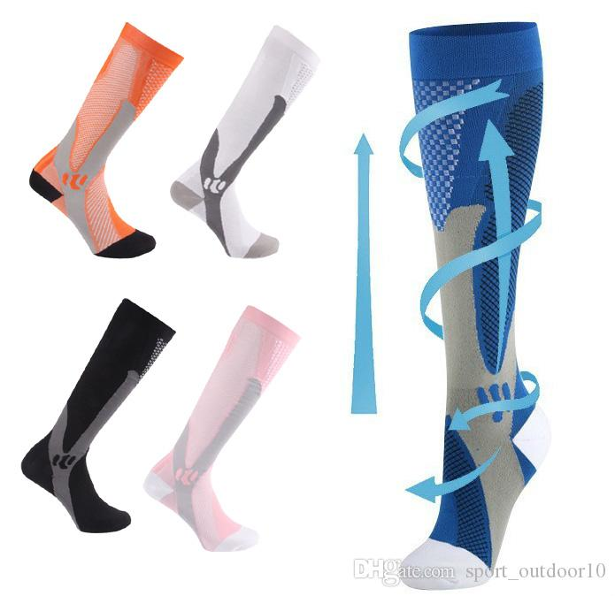 2pcs = 1Pair Men Comprency Socks Cycling Running Basket Varicose 20-30 Mmhg Knee Compess Stockings Marathon Socks Unisex Women Nylon