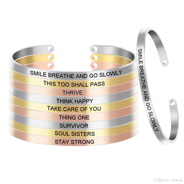 10pcs/lot Rose Gold Stainless Steel Positive Inspirational Bracelet Engraved Quote Mantra Bracelet & Cuff Bangle For Women SL-052*10