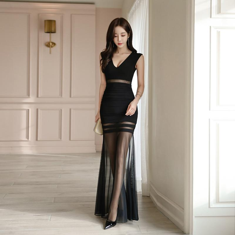 Sexy V-neck Hollow-out Patchwork Women Long Evening Party Dress Elegant Sheath Bodycon Transparent Female Dress vestidos 2019