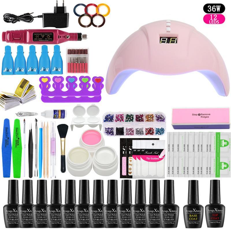Nail Set 36W UV-LED Lampen-Trockner mit Nagelgelpoliermittel Kit trinken weg Maniküre-Set Gel-Polnisches für Kunst-Werkzeuge