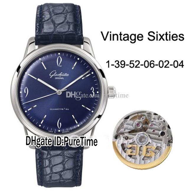 Best Edition Glashutte Spezimatic Vintage Sixties 1-39-52-06-02-04 Cassa in acciaio quadrante blu Miyota 821A Orologi automatici da uomo in pelle