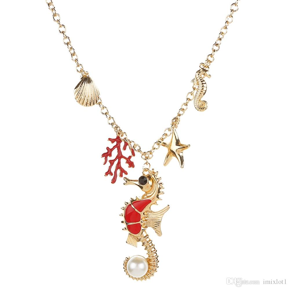Мода Популярные Золотого Океана Серии Животных И Растений Личность Мода Ожерелье Аксессуары Девушки Ювелирные Изделия 2 Выбор Цвета