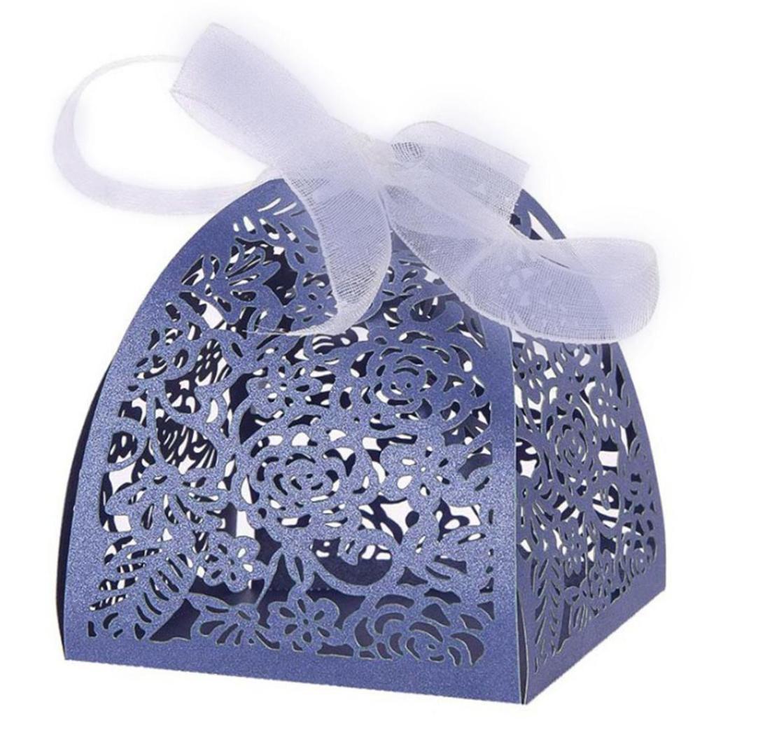 Blue Silver Laser Cut Hollow Candy Box favori della festa nuziale Sacchetti regalo con il nastro Chocolate Box