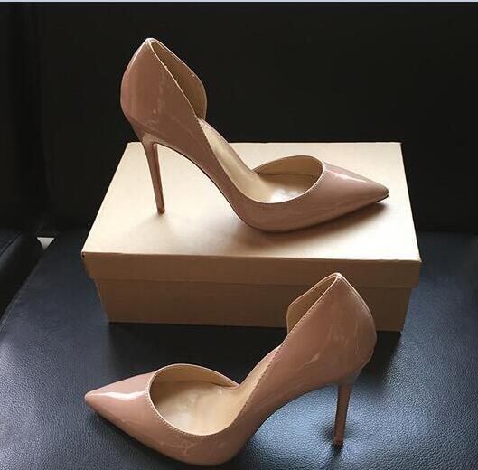2019 Art und Weise Frauen Pumps Nude Lackleder sexy Dame Pointe Zehe-Absatzschuhe Größe 33-44 12cm 10cm 8cm Partei Schuhe