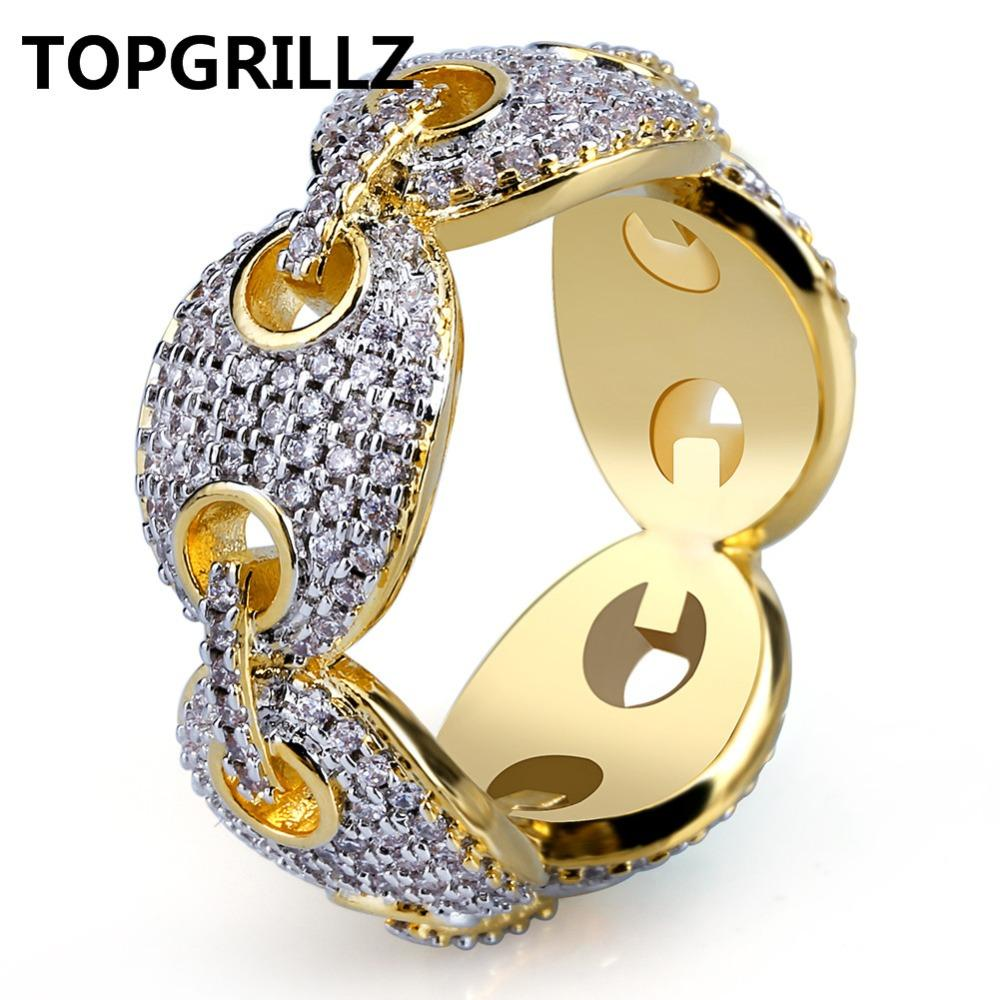 TOPGRILLZ Hip Hop New Design Iced Out Chain Link Ring Micro Pave Zircon Gold Color Plated Ring for Men Bling Party Gift