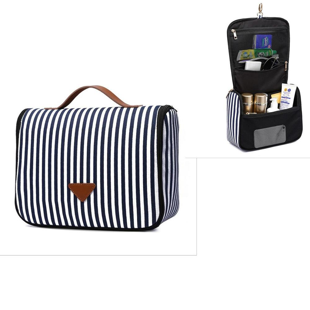 Navy Striped Cosmetic Bags Wiht Hook Canvas Pouch Women Clutch Makeup Storage Bag Free Shipping