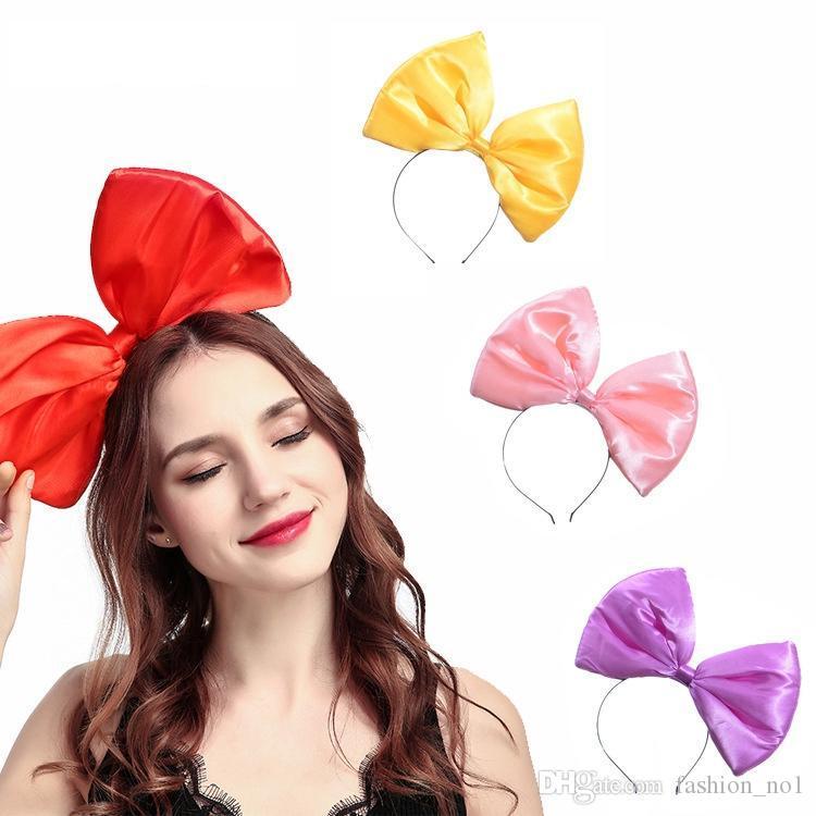 Moda Grande Bowknot dei capelli del cerchio Pure Color Grande arco stoffa fascia Ragazze di viaggio dei capelli del partito del cerchio delle donne Accessori per capelli LJJ_TA814