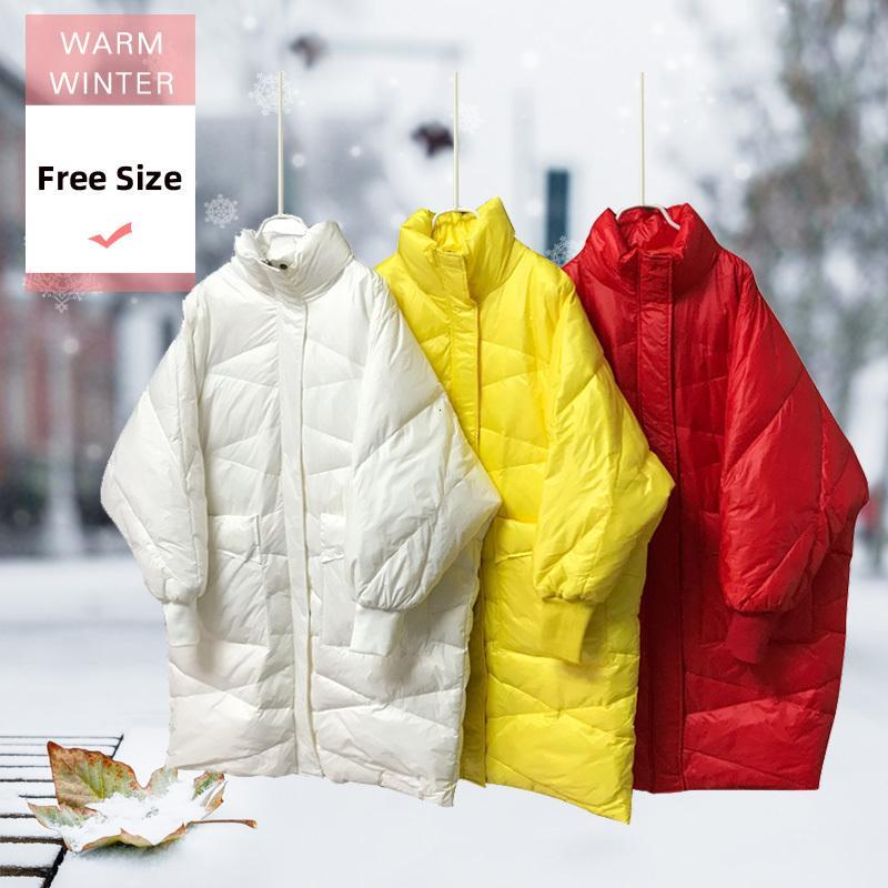 Nova moda inverno Mulheres Long Branco Duck Down Jacket Feminino quente grossa gola Zipper Jacket sólidas moles Windproof Outwear