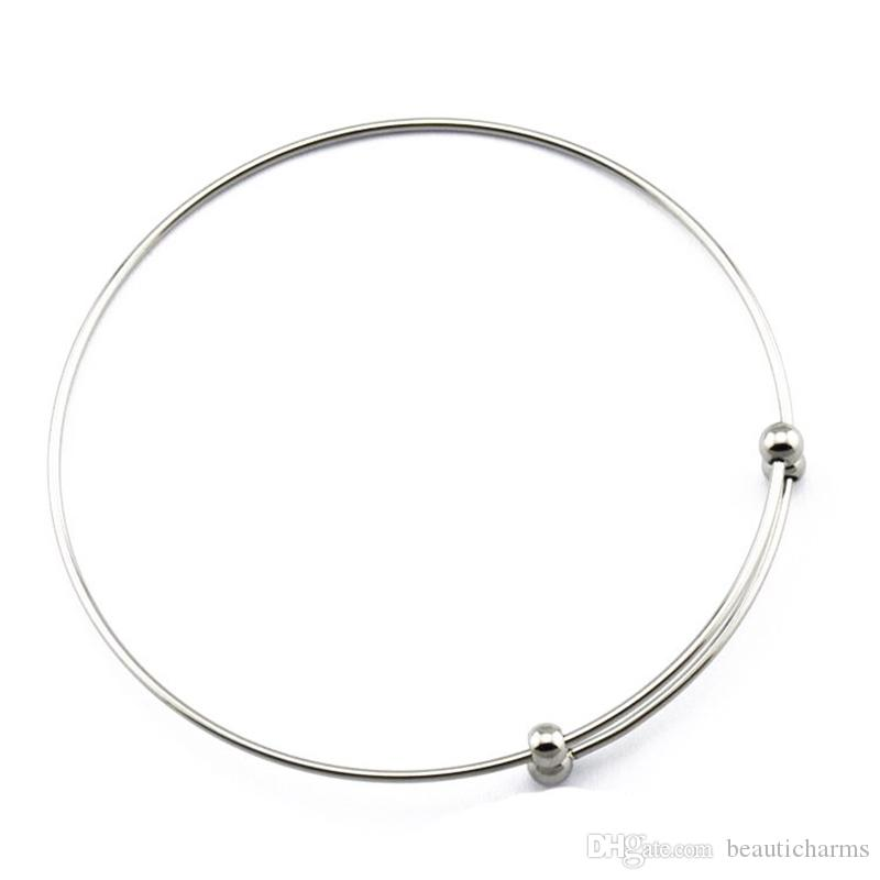 50PCs/Lot 1.2mm Wire Stainless Steel Expandable Bracelet Base Adjustable Blank Bangle DIY Charms Dangles Bangles