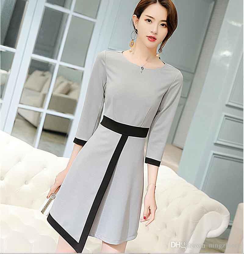 versão coreana da tendência fino do vestido ocasional selvagem 2019 primavera e no verão nova moda de tamanho grande das mulheres finas