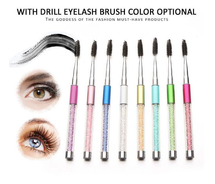 Mascara Wand Crystal Eyelash Brush Premium Diamond 10 Colors Popular Colorful Custom For False Eyelash Extension