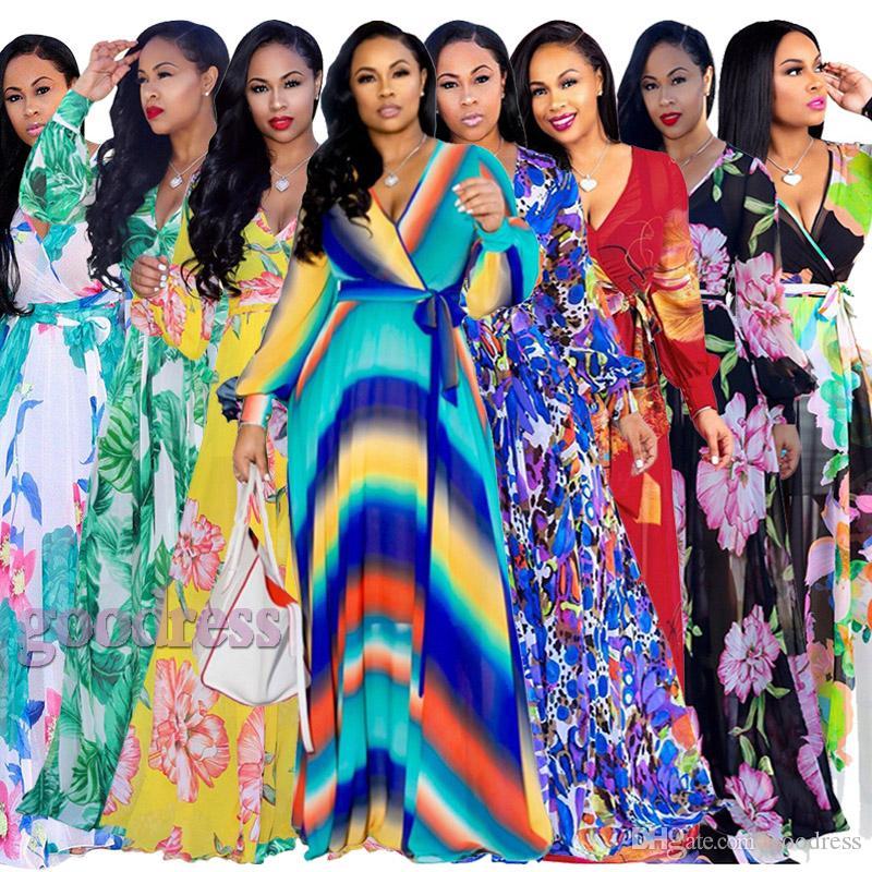 Femmes Bohême Maxi Robes Designer imprimé floral boho Sexy col V manches longues ceinturée en mousseline de soie été casual Loose Beach soirée robe de soirée