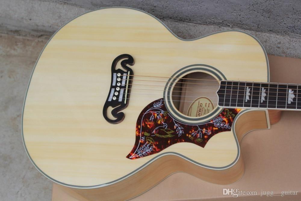 Custom Humming Bird G200 Natural Acoustic Electric Guitar Spurce Top Maple Back & Side, Single Cutaway, 101 301 Fishman Presys Pickups