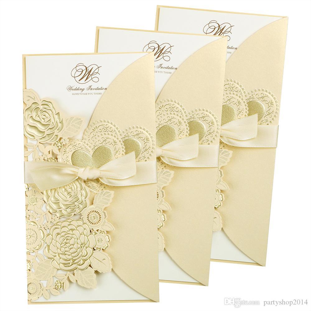 New Wedding Invitation Cards Solid Bronzing flower rectangle Gold Invitations pocket 3PCS/Set Laser Cut Hollow Invitations Pocket YC86