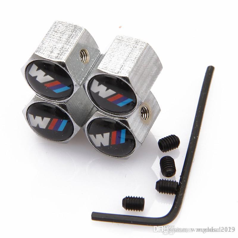 4PCS قابل للقفل مكافحة سرقة السيارات شعار عجلة صور صمامات الاطارات الجذعية قبعات الهواء محكم الغطاء عن وBMW M3 M5 M6 E36 E46 E60 E90 X1 X3 X5 X6 F10 F30