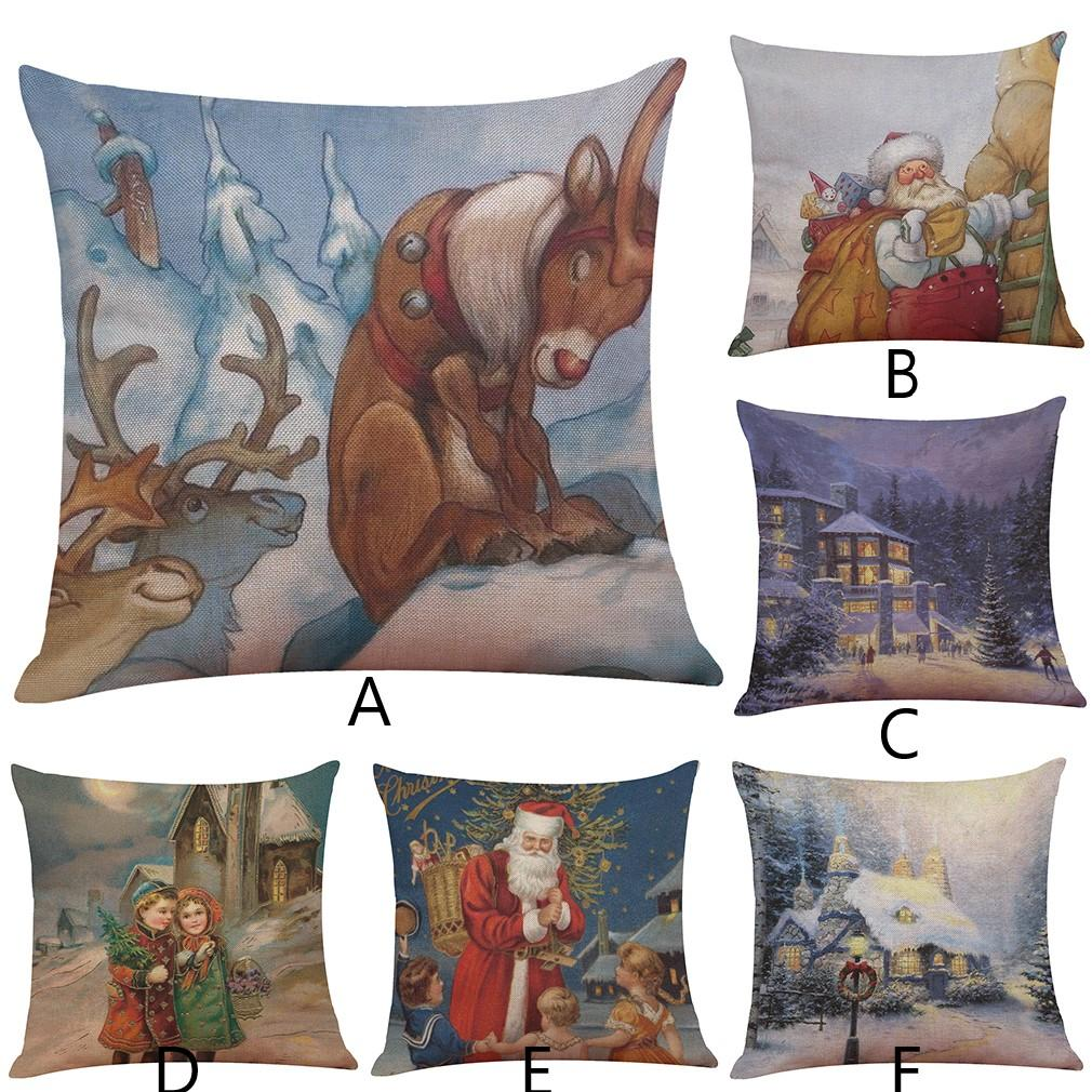 Christmas Throw Pillow Covers, Snowman Reindeer House Patterns For Home Car  Decorations Hot Sale 18x18 Inch Patio Furniture Cushions Sale Replacement  ...