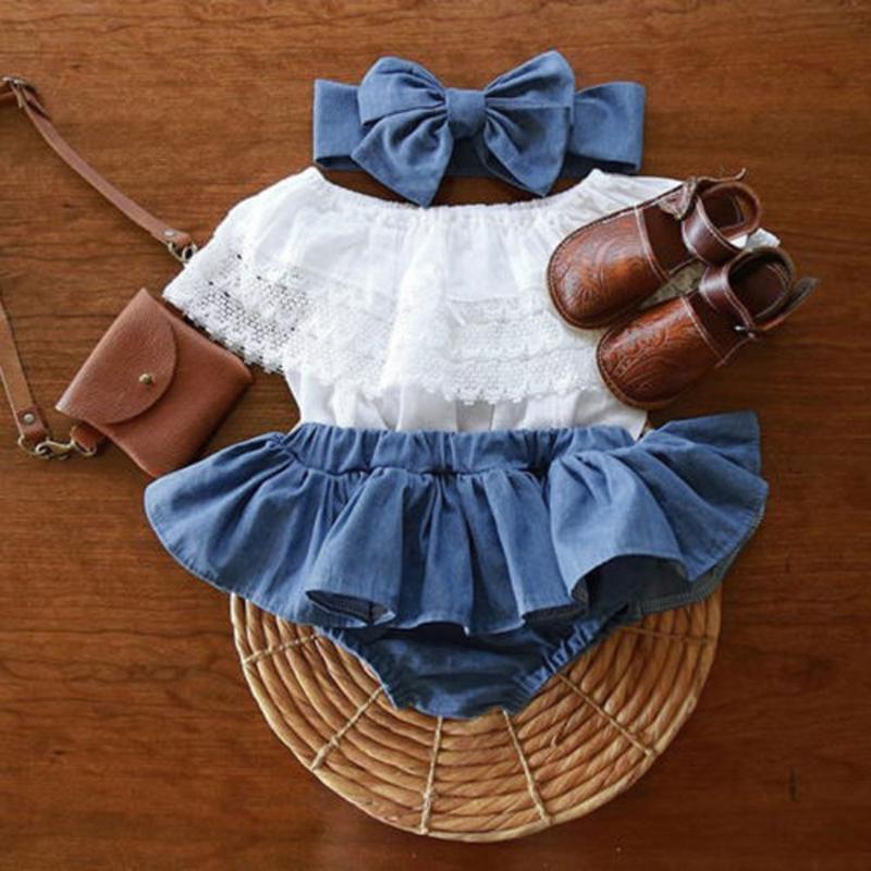Nouveau-né bébé Outfit froisse dentelle Top + Demin Shorts Robe + Bandeau Vêtements New manches d'été Vêtements de bébé Tenues # 4