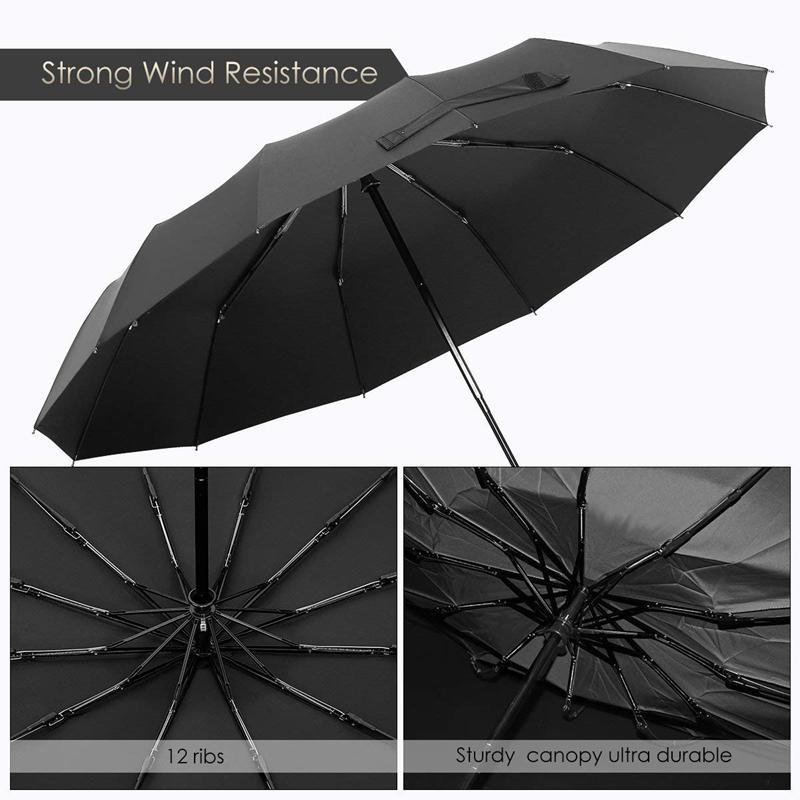 12 costelas Windproof Viagem Guarda-chuva Com Teflon Canopy, Handle alongada Com Auto Open Fechar Button, Proteção Compact De Rai