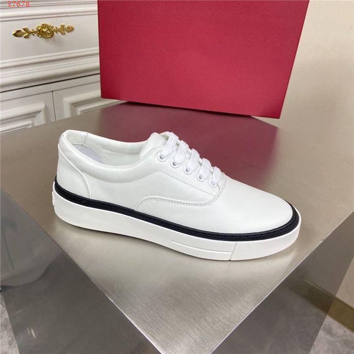 Buzağı Deri dış taban ile 2020 Son erkekler beyaz deri spor ayakkabıları, Eğitmenler Büyük Boy Sneaker Kutu Boyutu 38-44 gel