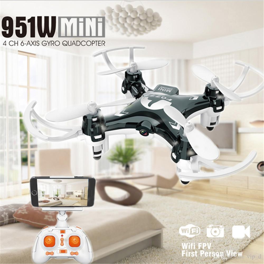 Оптовая FQ777 951W WIFI Карманный мини Drone FPV 4Ch 6-осевой гироскоп Quadcopter с 30W камеры Smartphone Holder брелока DHL