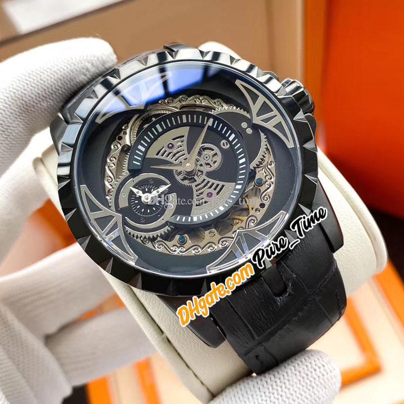 Новый Экскалибур 46 RDDBEX0425 Tourbillon Автоматическая Мужские часы PVD черный стальной корпус черный Скелет циферблат кожаный ремешок часы Pure_Time E66