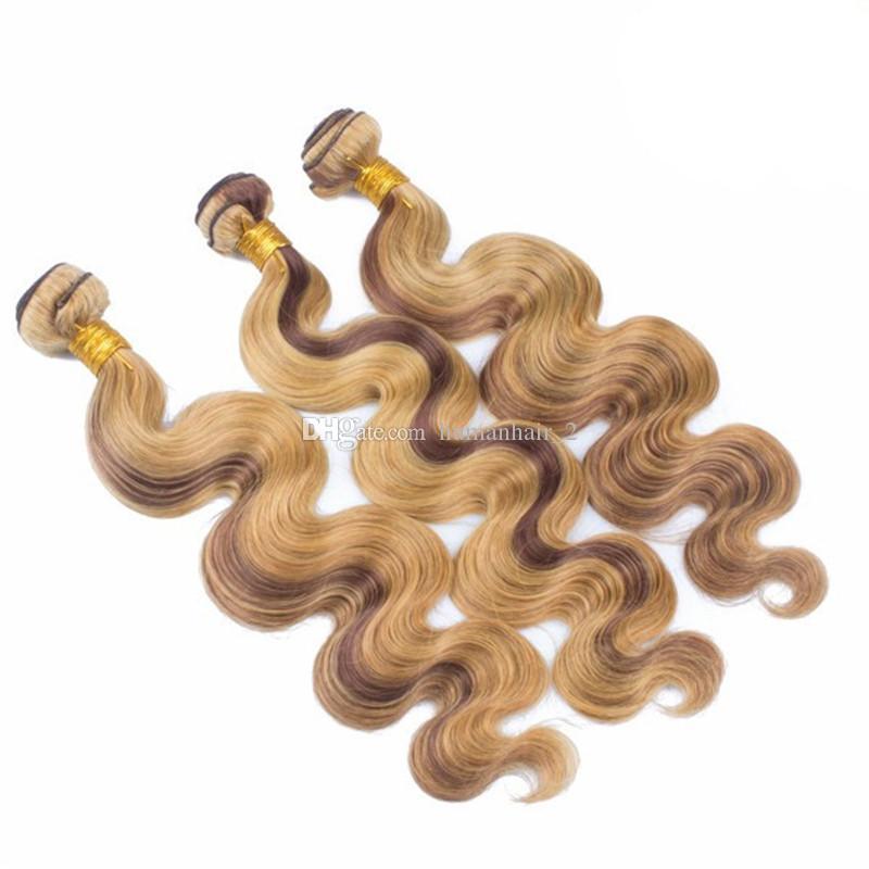 البرازيلي عذراء الشعر البشري ينسج 4 27 أومبير بيانو اللون ملحقات الشعر 3 حزم عروض مزيج اللون بني العسل شقراء اللحمات الشعر