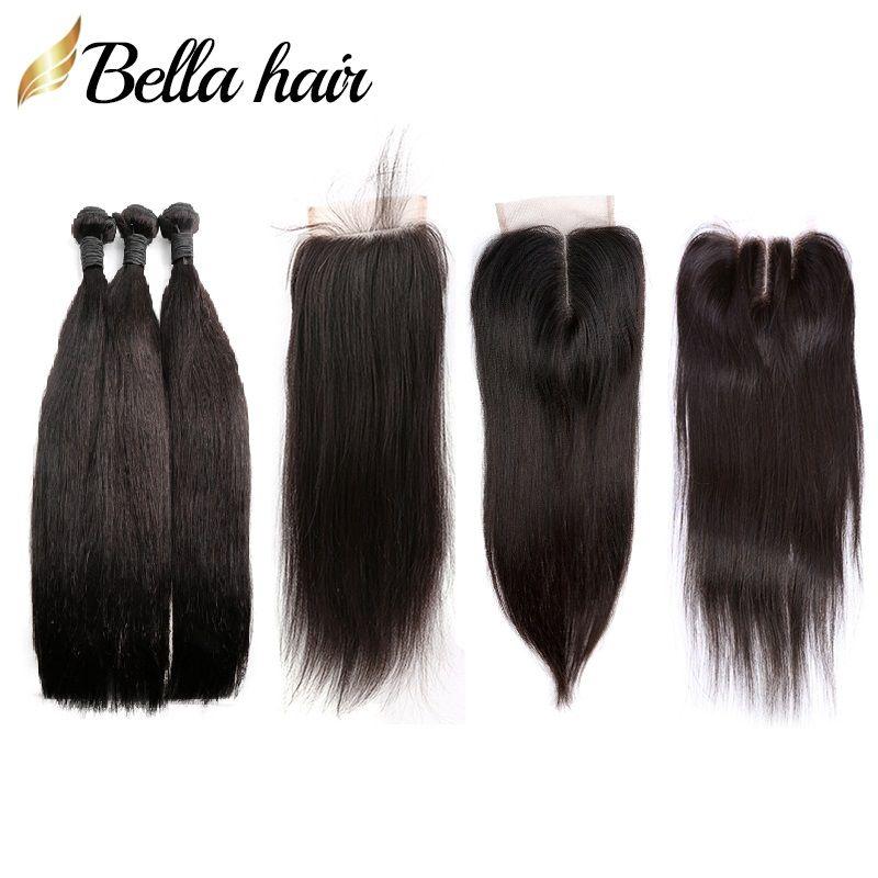 Peruanos Virgens tramas cabelo humano e Encerramento Weaves reta de seda 3 Pacotes de cabelo humano Extensão Lace Encerramento 4x4 Bella cabelo