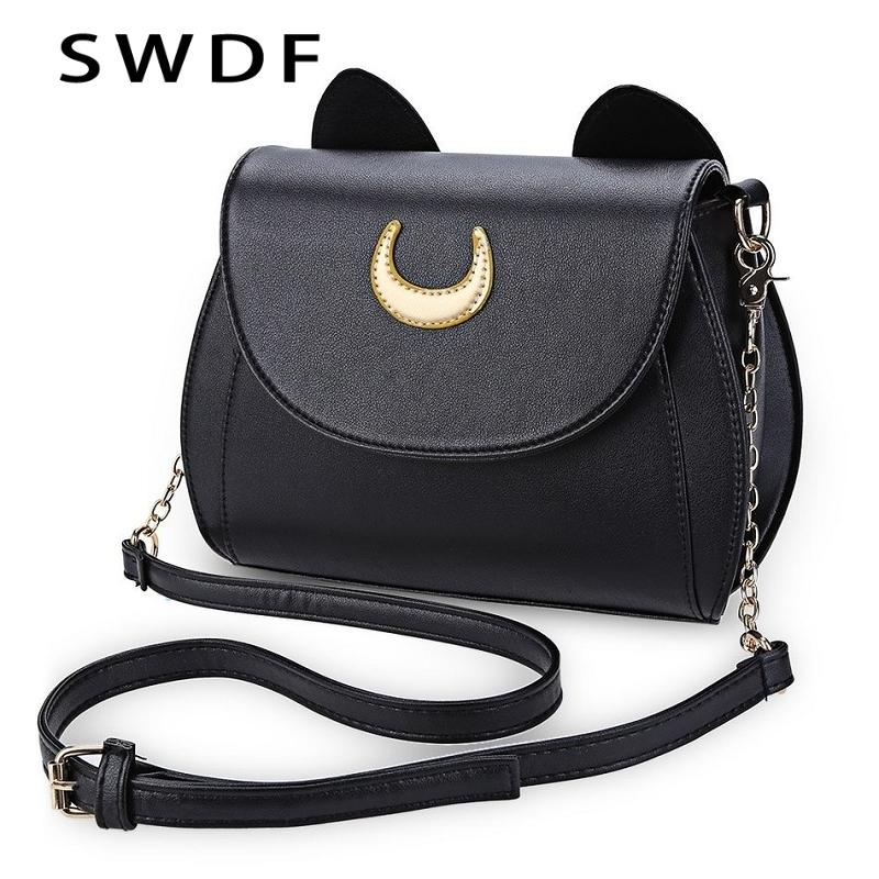 SWDF Summer Sailor Moon Ladies Handbag Black Luna Cat Shape Chain Shoulder Bag PU Leather Women Messenger Crossbody Small Bag Y191017
