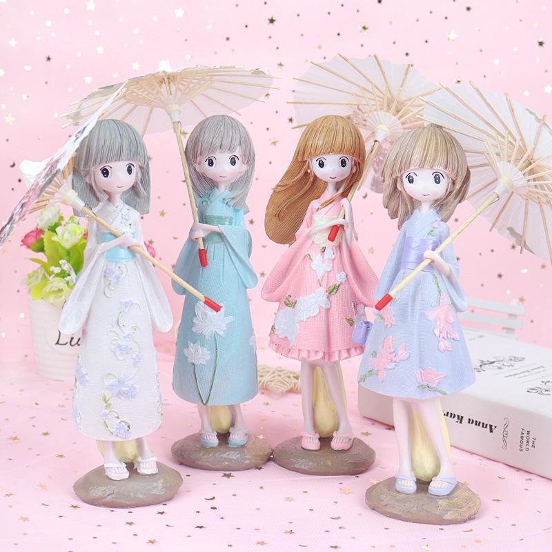 lovely umbrella Japanese kimono girl creative beautiful girl decoration resin crafts gift home decoration Figurines YD0615