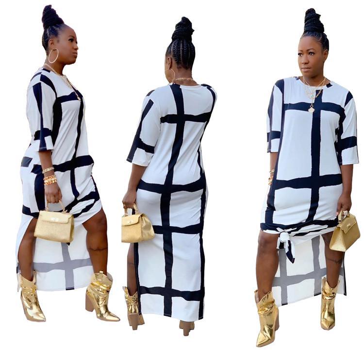 New Designer Ladies Dresses Split Black White Print Crew T Shirt Neck Simple Plus Size Sexy Autumn Casual Long Women Dress