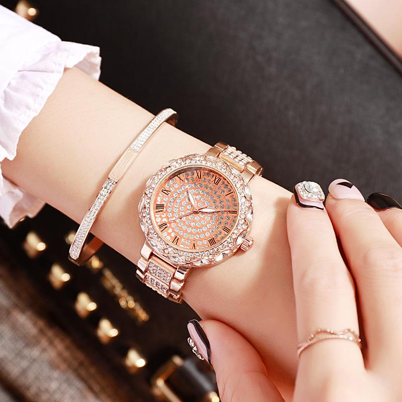 Lujoso cinturón de acero de aleación de taladro completo Tendencia Roma Calibración Reloj de moda de Star Star Lady