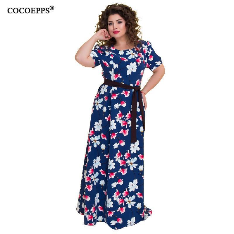 5xl 6xl 2019 été grande taille robe longue imprimé floral, plus la taille Vintage femmes robe Maxi avec écharpes grande robe de plage en mousseline de soie Y19050905