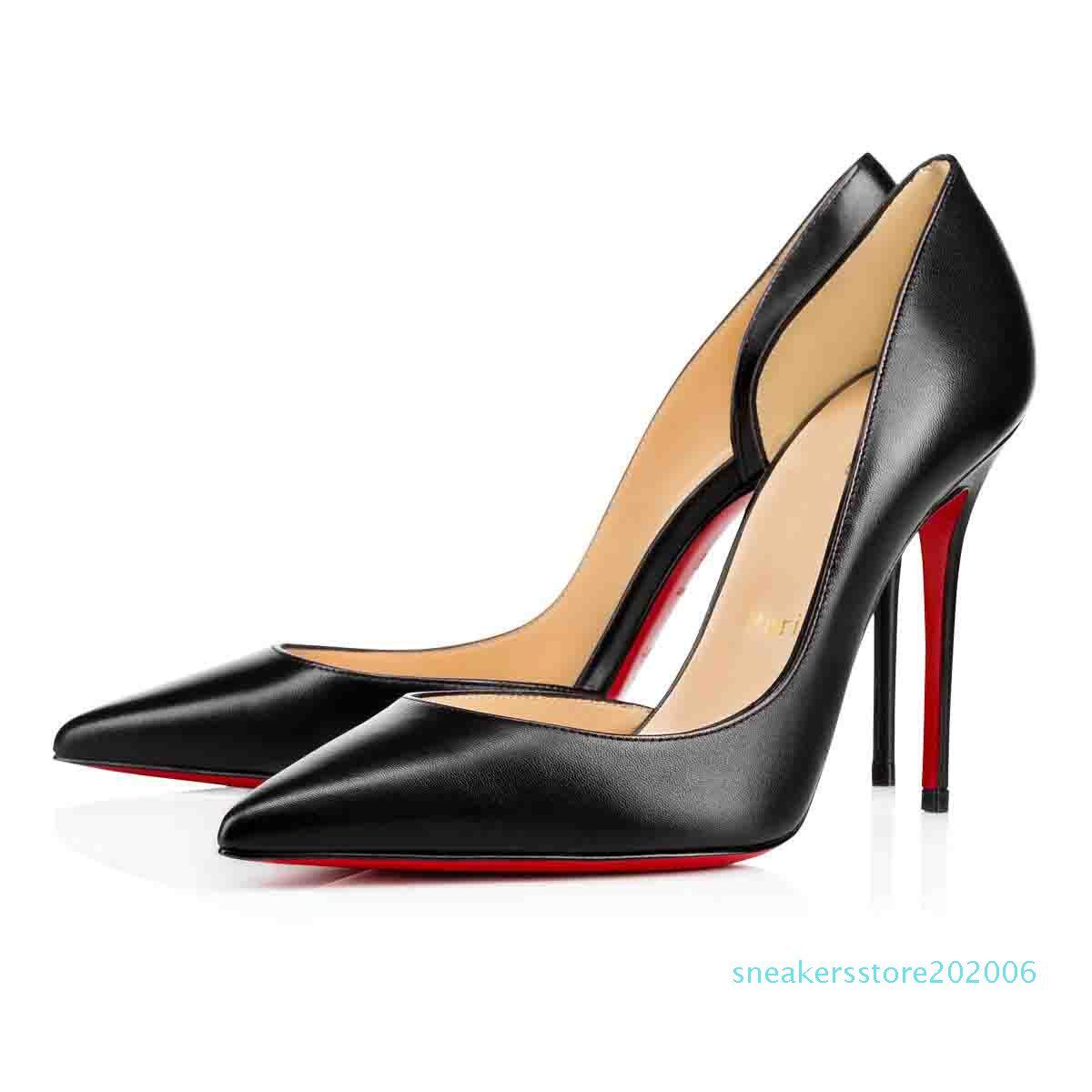 Couro preto Nude Glitter Mulheres Red inferior Iriza Shoes, Itália Luxo Homens Red Soles Salto Alto Party Dress Flats livre-Side / Salto s06