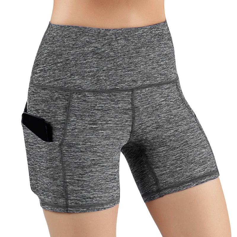 Diagonal bolso Sports ginásio Shorts Mulheres cintura alta elevação Push Up Yoga Shorts mulheres correndo calças apertadas yoga Aptidão