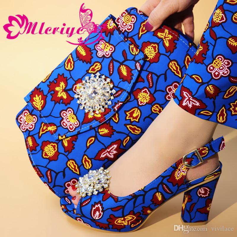 Eşleşen Çanta Ile İtalyan Ayakkabı Set Sıcak Afrika kadın Parti Ayakkabı ve Çanta Setleri mavi Renk Kadın Sandalet