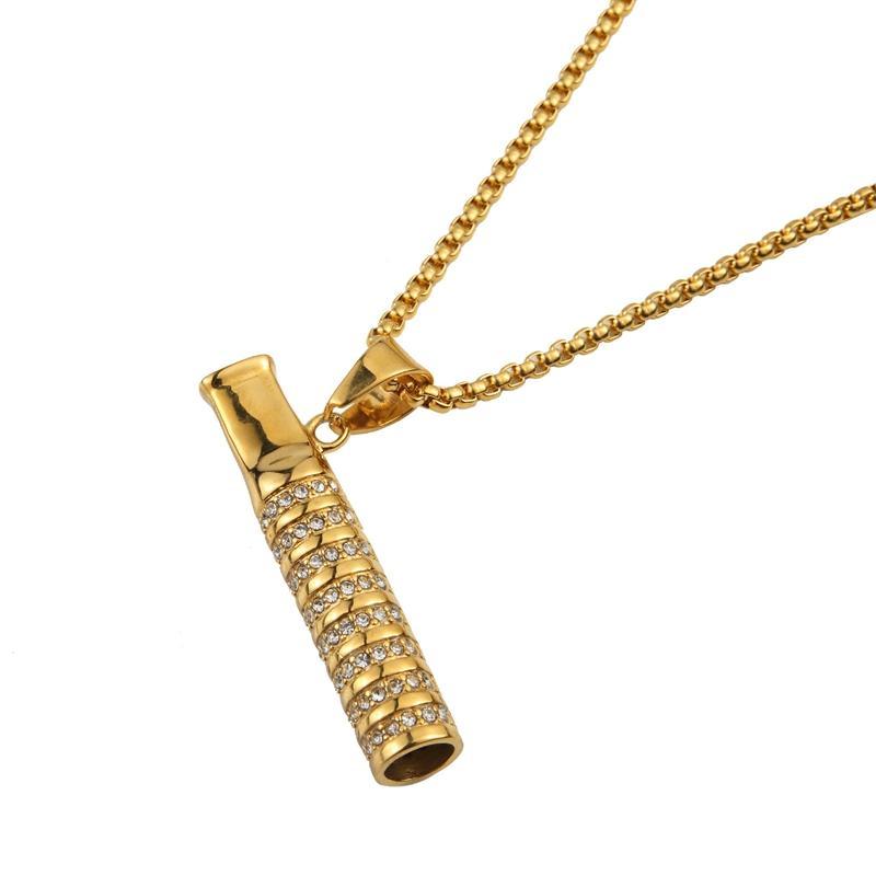 El nuevo cigarrillo de oro boca boquilla Mounthpiece diamantes de imitación decorar collar colgante portátil Torque para fumar herramienta Hot Cake
