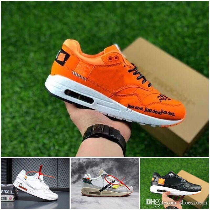 2018 Chaussures de course pas cher pour femme, coussin 1 Premium 87 OFF en cuir Surface White Orange Trainers Sport Chaussures off white 90 just do it nike vapormax