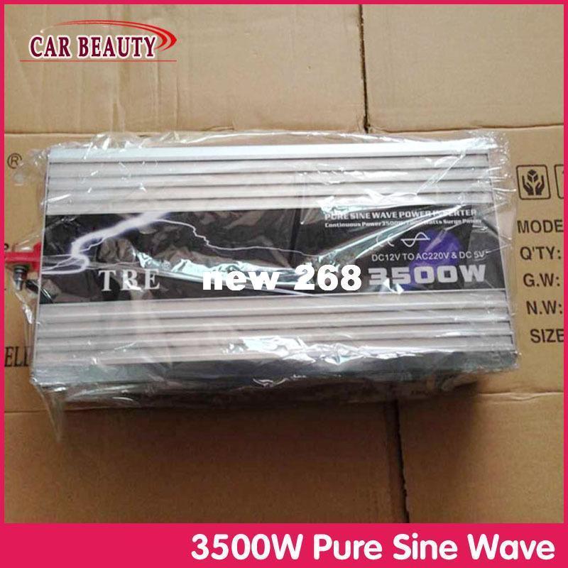 Freeshipping 3500 W Onda Senoidal Pura DC 12 V para AC 220 V / 230 V Carregador USB Power Inverter para Solar / Vento / Carro / Gerador de Energia Gás conversor