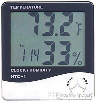 شاشات الكريستال السائل الرقمية درجة الحرارة الرطوبة على مدار الساعة الرطوبة متر ميزان الحرارة مع منبه التقويم على مدار الساعة HTC-1 100 قطعة تصل