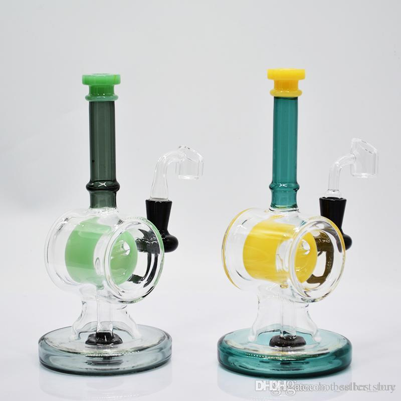 Water pipe glass bong 8 inch double base thick recycler green yellow showerhead perc heady glass dab rig oil rig bubbler quartz banger