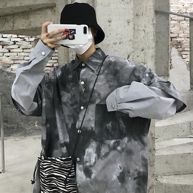 Corea camisa de algodón para hombres Gradiente suelta de manga larga botón del cuello camisas Blusa Masculina Vintage Casual Ropa Nueva MM60NCS