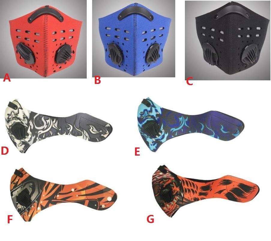Hava Kirliliği Yüz Maske Erkekler Spor Nefes Karbon Bisiklet Toz Duman Koruyucu Yarım Yüz Neopren Maske PM2.5 17 HH7-1388 Tasarımları Filtreler