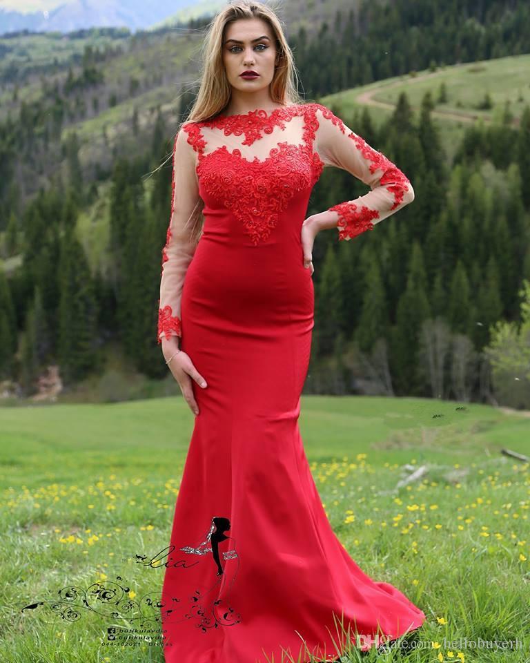 붉은 인어 이슬람 긴 소매 우아한 정장 저녁 플러스 사이즈 2019 새로운 섹시한 파티 댄스 파티 레드 카펫 연예인 드레스