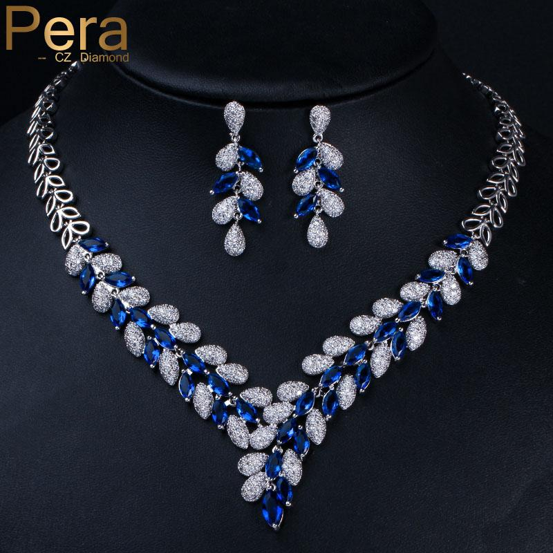 Pera الفاخرة الزفاف الملكي الكبير ماركيز الشكل الأزرق زركون طويل استرخى قلادة قلادة وحلق مجموعة للنساء j065